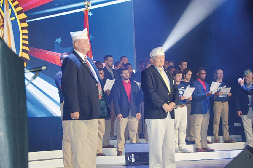 The American Legion Department of South Carolina Commander  John Britt US Army and Dept. of SC Vice Commander Walt Richardson, US Marine Corps were recognized during the playing of the  Armed Forces Medley.