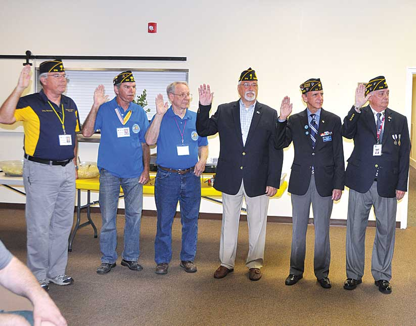 The 2019 Officers of The American Legion Major Rudolf Anderson, Jr. Post 214 were sworn in by Past Department SC Commander Bob Scherer at the  June Meeting.  Post 214 meets the 3rd  Tuesday of the month, now at Lee Road Methodist Church. From Left to Right, John Banning 2nd Vice Commander, Chris Baird Sergeant at Arms, Earl Nutz Chaplain, Mick Ogulewicz Financial Chair, Tony Dunn Adjutant. Pete Bellinger 1st Vice Commander.