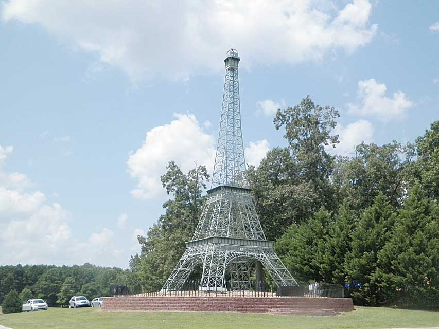 Small-scale replica of the Eiffel Tower in Paris, Tennessee.