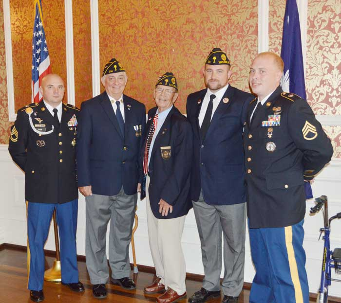 The American Legion Major Rudolf Anderson, Jr. Post 214 posted Colors at the June luncheon of the Greenville County Republican Women's Club. Participating in the Americanism Luncheon program were: (from left to right) Sgt. 1st Class Brent Cobb from Furman University Army ROTC Staff, Post 214 1st Vice Commander Pete Bellinger, Events Director Charlie Porter, Jamie Richards, Staff Sgt. Justin McAbee. - Photo by Gilbert Scales