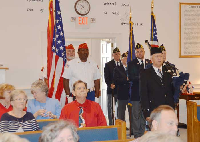 The American Legion Major Rudolf Anderson, Jr. Post 214 Color Guard was invited to participate in Wren Memorial Baptist Church's patriotic services.  Members included Pete Bellinger, Jamie Richards, Charlie Clifton and Clyde Rector.
