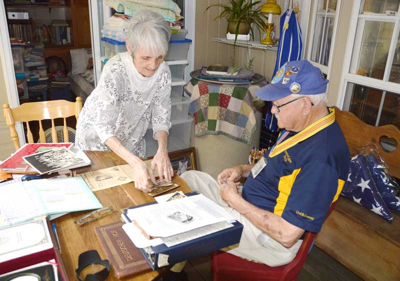 Patricia Anne Schaeffer donates artifacts of her Father a World War 11 Veteran to the Cecil D. Buchanan Museum of Military History at American Legion Post 214, Wade Hampton Blvd.