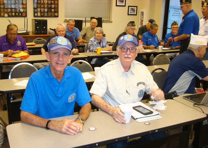 Adjutant Tony Dunn and Commander Clyde Rector from Major Rudolf Anderson, Jr. Post 214 attend Membership workshop at Post 200 Boiling Spring.