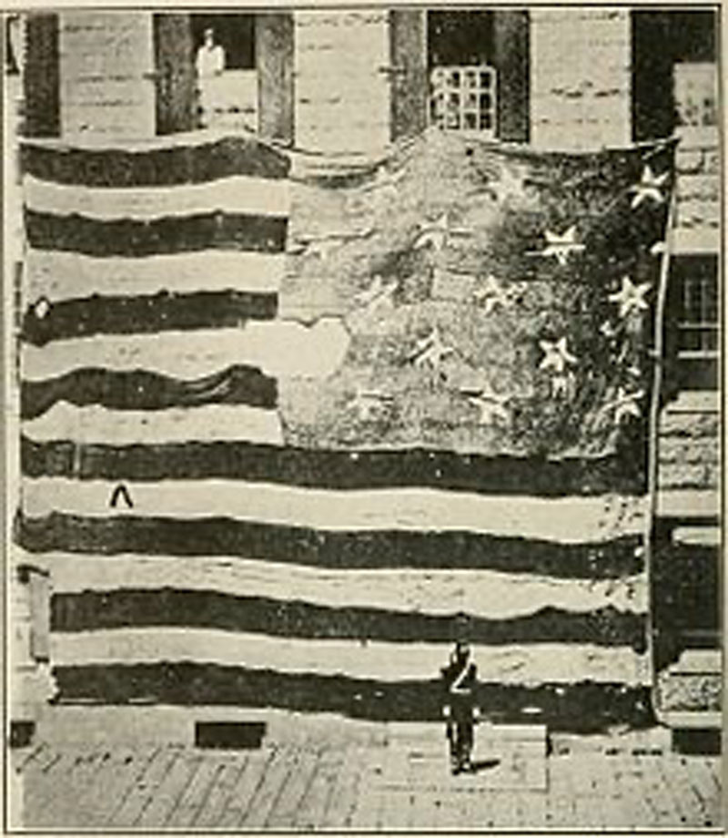 The huge banner that still waved. On September 14, 1814,  Fort McHenry, Baltimore.