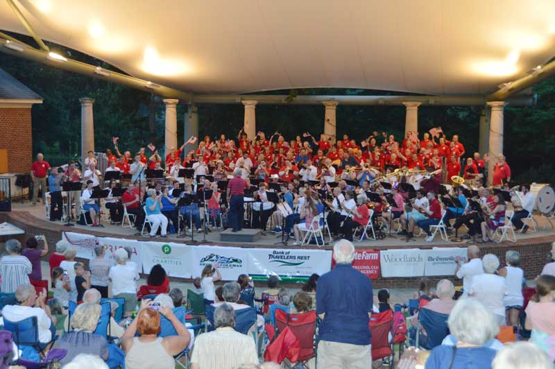 Greenville Symphony Orchestra under the direction of Dr. Benjamin Vick performs patriotic music along with the newer version of the 1812 Overture at Furman University outdoor patriotic concert.