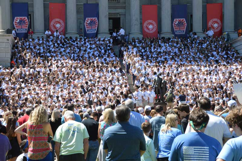 Members of American Legion Sponsored Boys and Girls State gather at South Carolina Capital steps to celebrate their week at Boys or Girls State and Graduation.