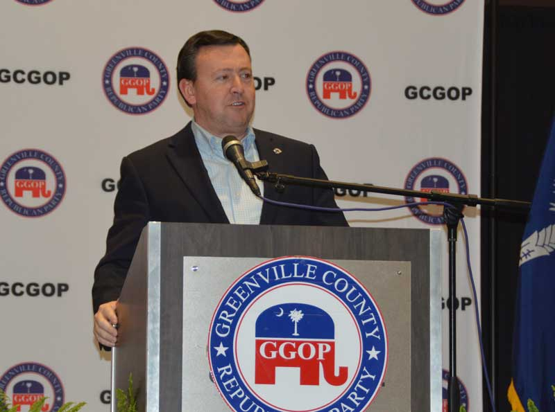 South Carolina Republican Party State Chairman Drew McKissick spoke on the State GOP status and issues at hand. - Photo by Gilbert Scales