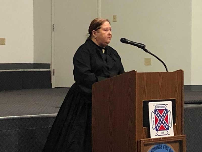 Darlene Dowdy was the guest speaker at the Greenville 16th Regiment Camp 36 SCV monthly meeting. She portrayed the life and final days of Mary Suratt, who was hanged for alleged involvement in the assassination of President Abraham Lincoln.