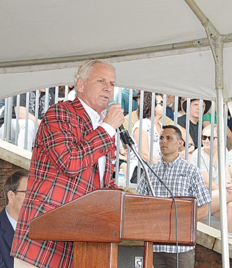 South Carolina Governor Henry McMaster spoke at the Greenville Scottish Games. (Photo by Gilbert Scales))