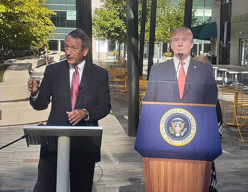 Former South Carolina governor and current presidential candidate Mark Sanford came to One City Plaza on Monday to call for the state Republican Party to reverse its recent decision to cancel next February's presidential primary.