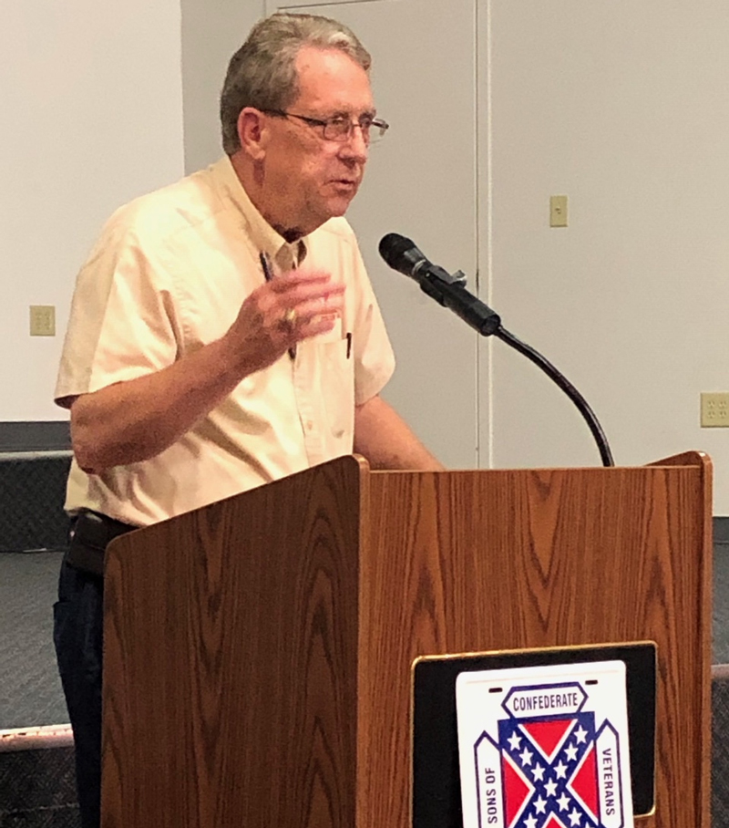 "D. Michael Thomas brought a presentation on ""Wade Hampton's Iron Scouts"" to members of Greenville's 16th Regiment SC Volunteers, Sons of Confederate Veterans Camp 36.""."