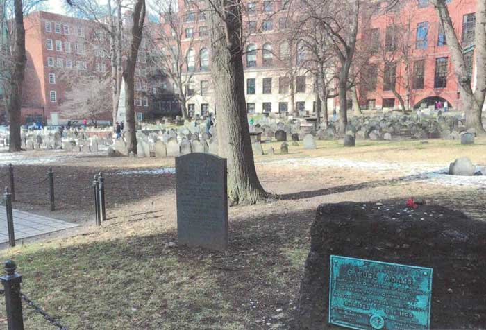 Old Gran Army Burian Ground - Boston. Grave of Christopher Seider and 5 patriots kille din the Boston Massacre is to the left of Samuel Adam's grave.