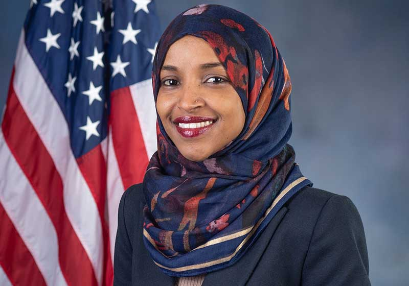 Ilhan Omar, Democrat U S Representative from 5th District of Minnesota. Elected 2018.