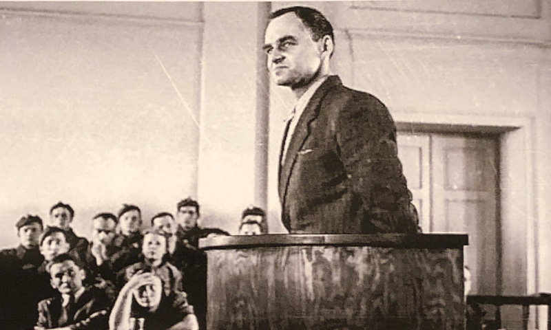 Pilecki on trial by Polish Communist Court in May 1948, two weeks before he was executed.