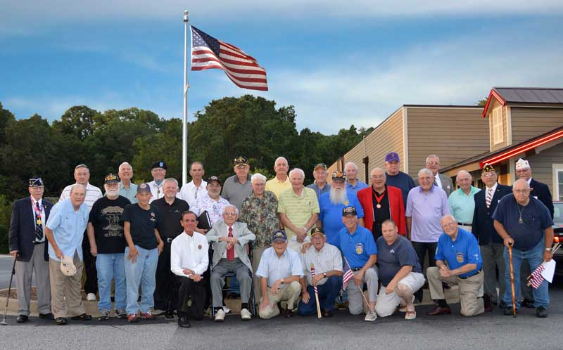 Back Row: Norman Nadeau, Ed Wooten, Carroll Kelley, Chris Baird, Frank Tooley, Joe Herlong, Sr., Larry Murry, Perry Cox, Bill Pray and Tom Fleury. 2nd Row: Jerry Lunsford, Fred Lee, Harold White, Tony Aldebol, William Kelley, Steve Zietz, Robert Wicks, Roy Brock, Pat Ramsey, Bill Moore, Billy Painter, Frank Cockman, District 3 Commander Clyde Mabery and 1st Vice Commander, State Dept. of SC Bob Scherer. 1st Row: Tony Dunn, Cecil Buchanan, Charlie Clifton, Bobby Peater, Steve Ehrlich, Stuart McClure, Peter Butchart and Roy Williamson.