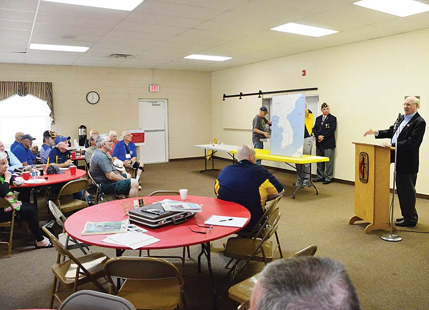 George Fletcher, Member Greenville City Council presented The Cecil D. Buchanan museum of Military History a large Korean map, and gave some history about the Korean way of life at the American Legion Post 214 Tuesday evening meeting at Lee Road Methodist Church.