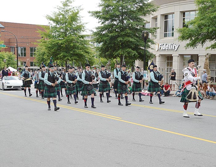 City of Greenville Pipes and Drums, led by Piper/Drum Major Andy Buckhout, participated in the Greenville Scottish Games Parade. (Photo by Gilbert Scales)