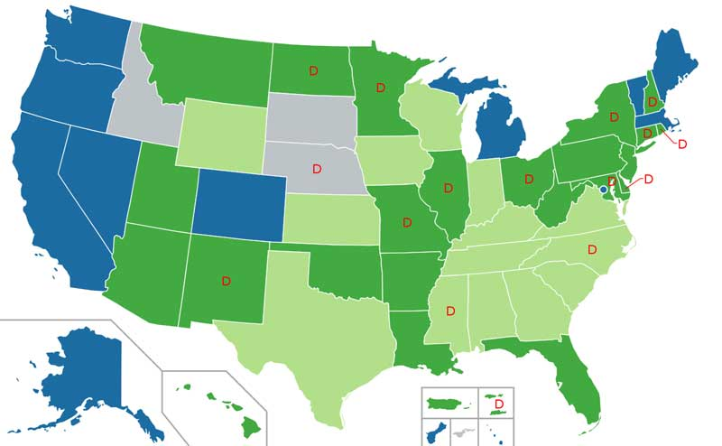Nine states and DC have legal recreational marijuana. Wiki